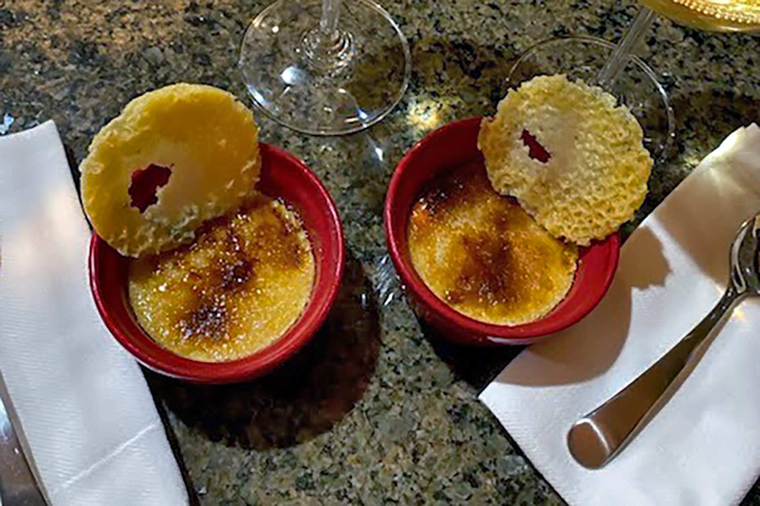 Rogue River Blue Crème Brulée with Cheese Tuile